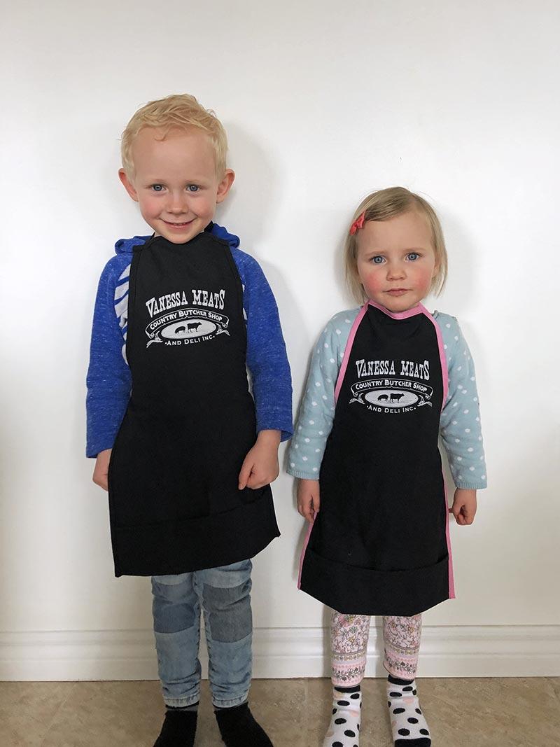 Kids in Vanessa Meats Aprons